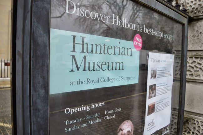Sign of the Hunterian Museum at the Royal College of Surgeons, Holborn, London