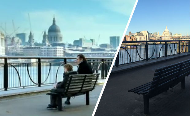 Love Actually bench scene ('total agony') in Gabriels Wharf, London