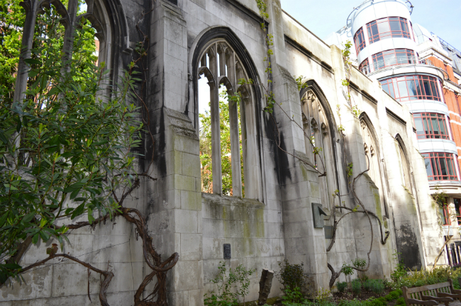 Ruins at St Dunstan in the East, London