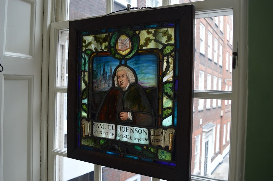 Stained glass window at Dr Johnson's House, London