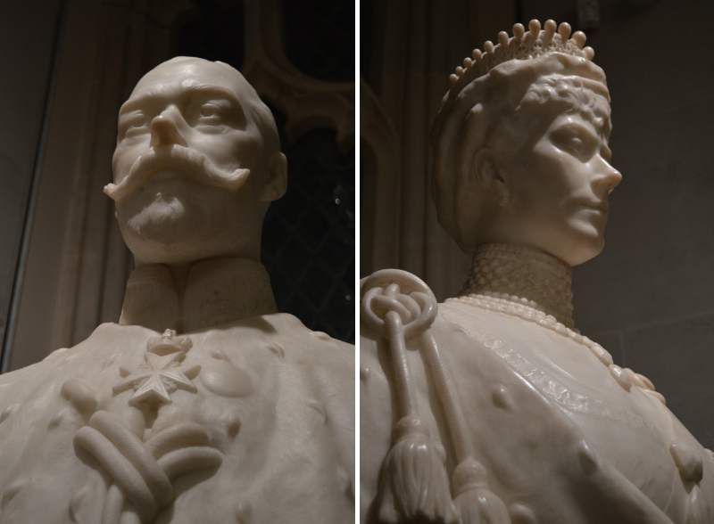 Sculptures of Victoria and Albert at the Guildhall, London
