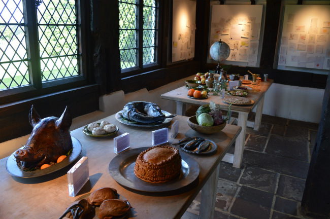 Tudor food display at Queen Elizabeth's Hunting Lodge in Epping Forest, east London