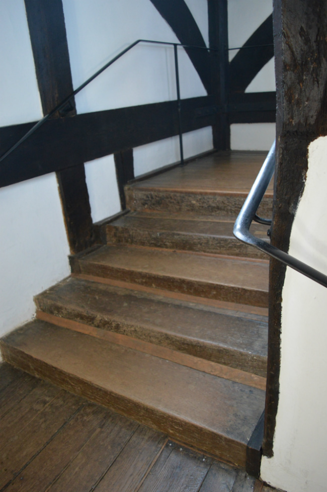 Stairs at Queen Elizabeth's Hunting Lodge in Epping Forest, east London
