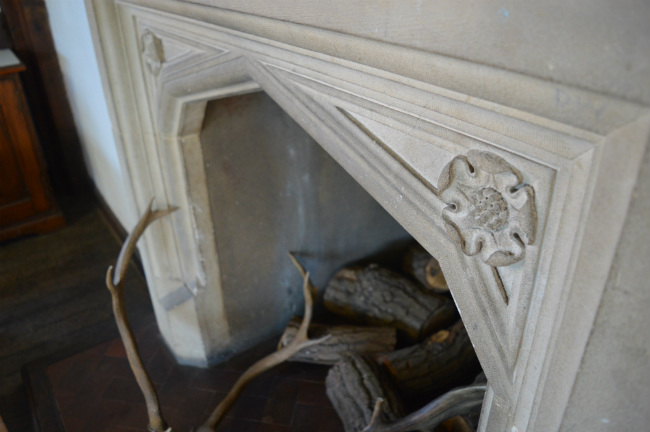 Tudor fireplace at Queen Elizabeth's Hunting Lodge in Epping Forest, east London