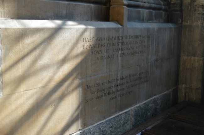 Interior inscription of of eltham palace great hall