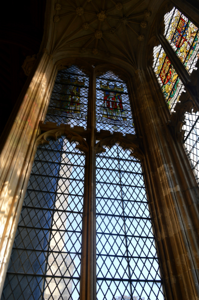 Interior stained glass windows of eltham palace great hall