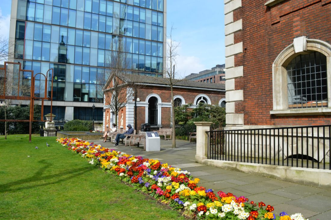 St Botolph without Bishopsgate garden, London