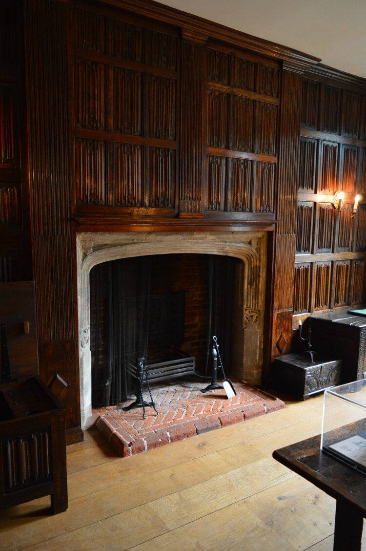 Tudor fireplace at Sutton House, Hackney, London