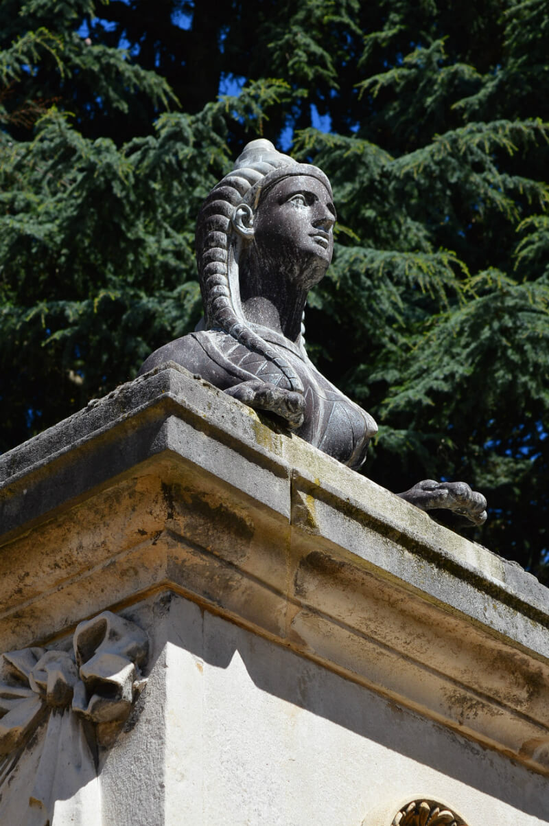 Sphinx on exterior of Chiswick House, west London
