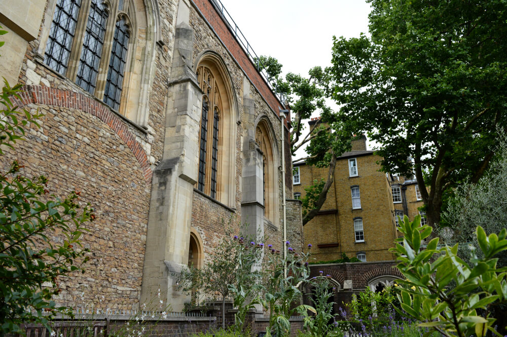 Cloister garden at St John's Gate, Clerkenwell, London