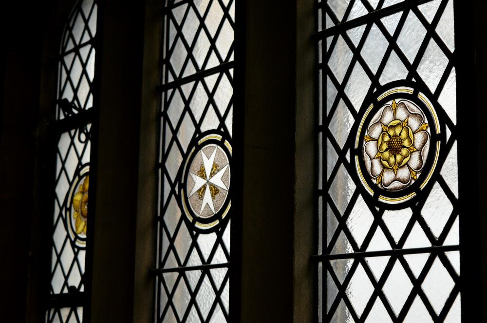 Stained glass window in St John's Gate, Clerkenwell, London