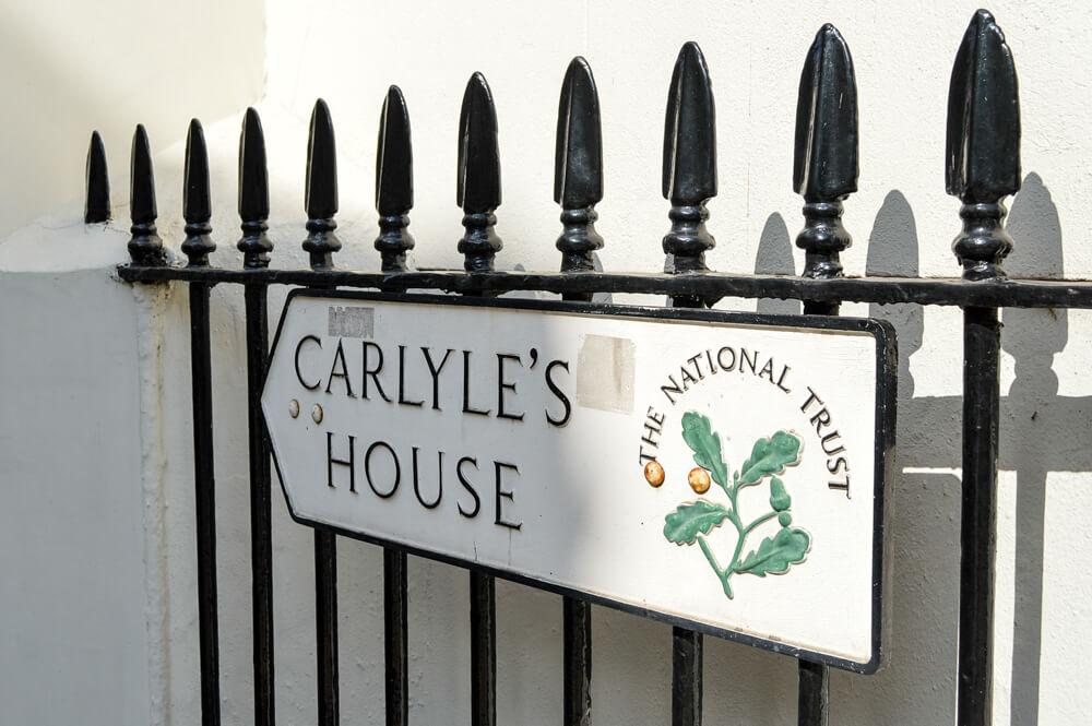SIgn for Carlyle's House, Chelsea, London