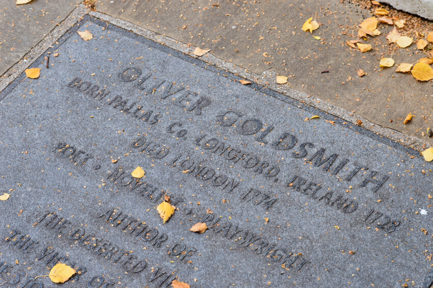 Grave of Oliver Goldsmith in Temple Church yard, London